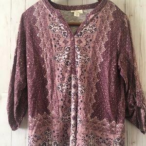 Style&Co.Woman Long Sleeve Paisley Blouse